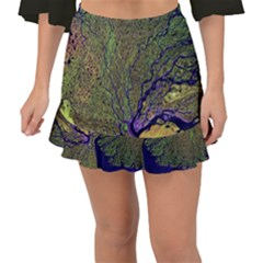 Lena River Delta A Photo Of A Colorful River Delta Taken From A Satellite Fishtail Mini Chiffon Skirt