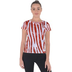 Skin4 White Marble & Red Marble Short Sleeve Sports Top