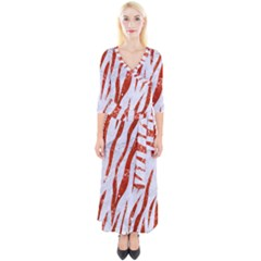 Skin3 White Marble & Red Marble (r) Quarter Sleeve Wrap Maxi Dress by trendistuff