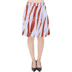 Skin3 White Marble & Red Marble (r) Velvet High Waist Skirt by trendistuff