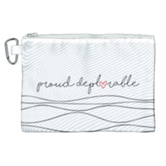 Proud Deplorable Maga Women For Trump With Heart And Handwritten Text Canvas Cosmetic Bag (xl) by MAGA