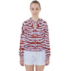 Skin2 White Marble & Red Marble (r) Women s Tie Up Sweat
