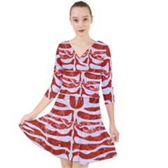 Skin2 White Marble & Red Marble Quarter Sleeve Front Wrap Dress