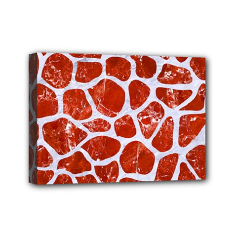 Skin1 White Marble & Red Marble (r) Mini Canvas 7  X 5  by trendistuff