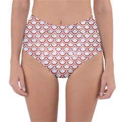 Scales2 White Marble & Red Marble (r) Reversible High Waist Bikini Bottoms