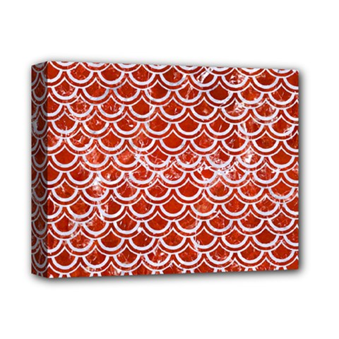 Scales2 White Marble & Red Marble Deluxe Canvas 14  X 11  by trendistuff