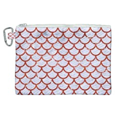 Scales1 White Marble & Red Marble (r) Canvas Cosmetic Bag (xl)
