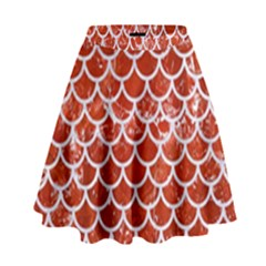 Scales1 White Marble & Red Marble High Waist Skirt