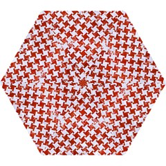 Houndstooth2 White Marble & Red Marble Mini Folding Umbrellas by trendistuff