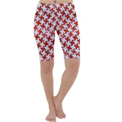 Houndstooth2 White Marble & Red Marble Cropped Leggings