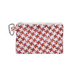 Houndstooth2 White Marble & Red Marble Canvas Cosmetic Bag (small) by trendistuff