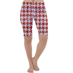 Houndstooth1 White Marble & Red Marble Cropped Leggings