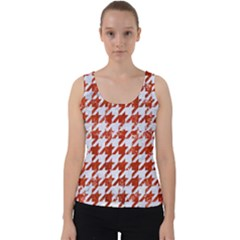 Houndstooth1 White Marble & Red Marble Velvet Tank Top by trendistuff