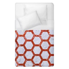 Hexagon2 White Marble & Red Marble (r) Duvet Cover (single Size) by trendistuff