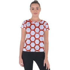 Hexagon2 White Marble & Red Marble (r) Short Sleeve Sports Top
