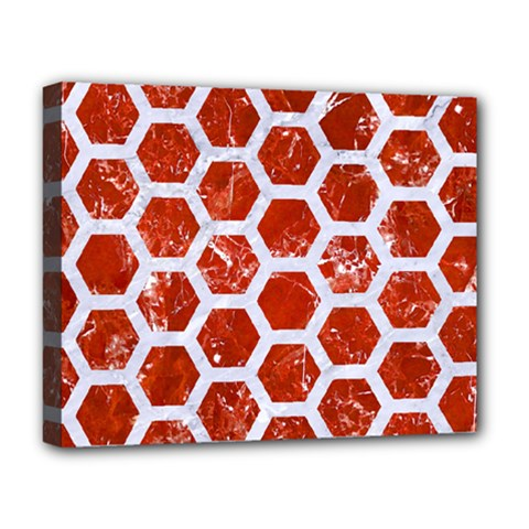 Hexagon2 White Marble & Red Marble Deluxe Canvas 20  X 16