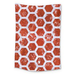 Hexagon2 White Marble & Red Marble Large Tapestry by trendistuff