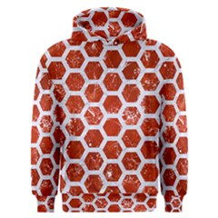 Hexagon2 White Marble & Red Marble Men s Overhead Hoodie