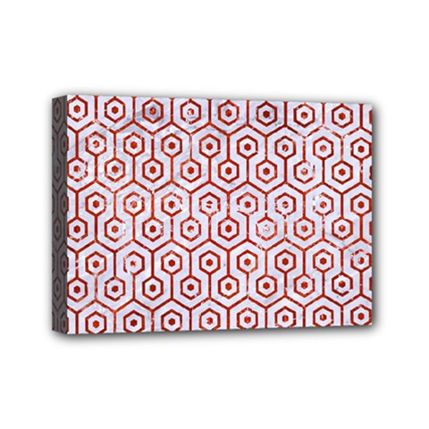 Hexagon1 White Marble & Red Marble (r) Mini Canvas 7  X 5  by trendistuff