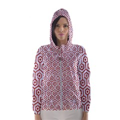 Hexagon1 White Marble & Red Marble (r) Hooded Wind Breaker (women) by trendistuff