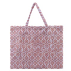 Hexagon1 White Marble & Red Marble (r) Zipper Large Tote Bag by trendistuff