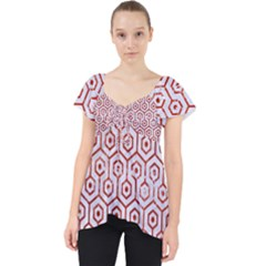 Hexagon1 White Marble & Red Marble (r) Lace Front Dolly Top