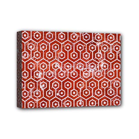 Hexagon1 White Marble & Red Marble Mini Canvas 7  X 5  by trendistuff