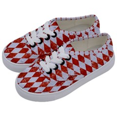 Diamond1 White Marble & Red Marble Kids  Classic Low Top Sneakers by trendistuff