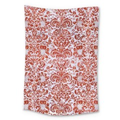 Damask2 White Marble & Red Marble (r) Large Tapestry by trendistuff