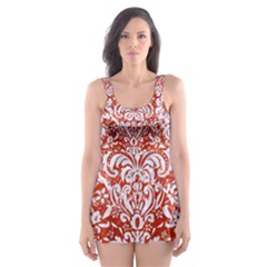 Damask2 White Marble & Red Marble Skater Dress Swimsuit
