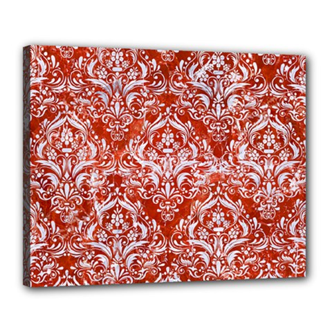 Damask1 White Marble & Red Marble Canvas 20  X 16  by trendistuff