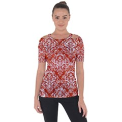Damask1 White Marble & Red Marble Short Sleeve Top