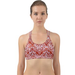 Damask1 White Marble & Red Marble Back Web Sports Bra