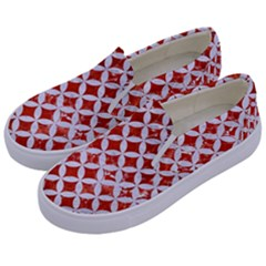 Circles3 White Marble & Red Marble Kids  Canvas Slip Ons by trendistuff