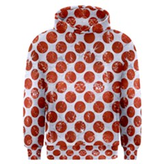 Circles2 White Marble & Red Marble (r) Men s Overhead Hoodie