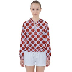 Circles2 White Marble & Red Marble (r) Women s Tie Up Sweat