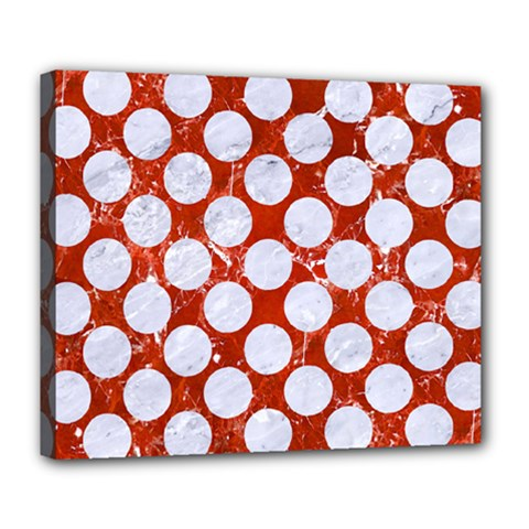 Circles2 White Marble & Red Marble Deluxe Canvas 24  X 20   by trendistuff