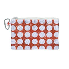 Circles1 White Marble & Red Marble Canvas Cosmetic Bag (medium)