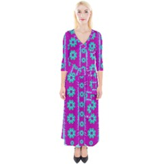 Fern Decorative In Some Mandala Fantasy Flower Style Quarter Sleeve Wrap Maxi Dress by pepitasart