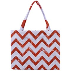 Chevron9 White Marble & Red Marble (r) Mini Tote Bag by trendistuff