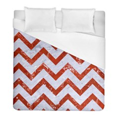 Chevron9 White Marble & Red Marble (r) Duvet Cover (full/ Double Size) by trendistuff