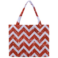 Chevron9 White Marble & Red Marble Mini Tote Bag by trendistuff