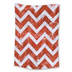 Chevron9 White Marble & Red Marble Large Tapestry by trendistuff