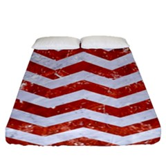 Chevron3 White Marble & Red Marble Fitted Sheet (queen Size) by trendistuff