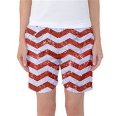 Chevron3 White Marble & Red Marble Women s Basketball Shorts
