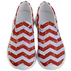 Chevron3 White Marble & Red Marble Men s Lightweight Slip Ons