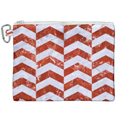 Chevron2 White Marble & Red Marble Canvas Cosmetic Bag (xxl) by trendistuff