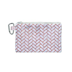 Brick2 White Marble & Red Marble (r) Canvas Cosmetic Bag (small) by trendistuff