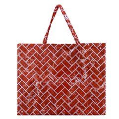 Brick2 White Marble & Red Marble Zipper Large Tote Bag by trendistuff