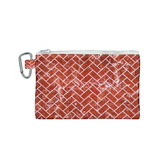 Brick2 White Marble & Red Marble Canvas Cosmetic Bag (small) by trendistuff